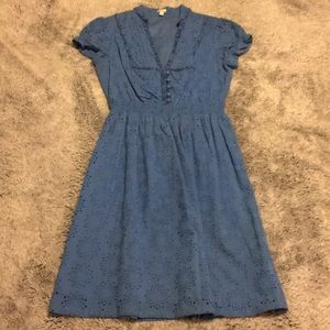 Fossil Cotton Eyelet Blue Midi Dress Size XS